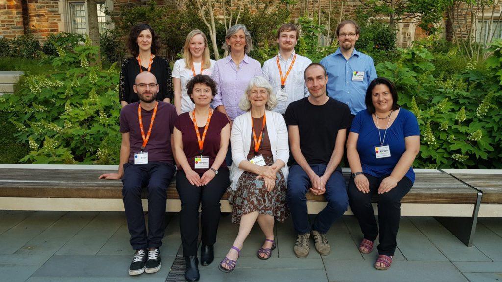 Mitglieder des deutschen FOLIO-Teams sowie die derzeitigen Vorsitzenden des Product Councils bei der WOLFcon 2018 in Durham, North Carolina